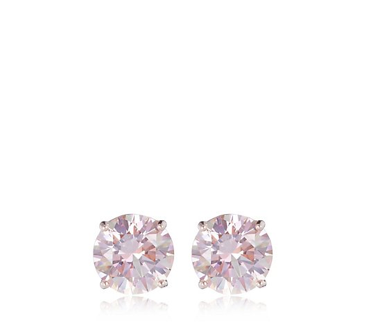 Diamonique 4ct tw Simulated Morganite Stud Earrings Sterling Silver