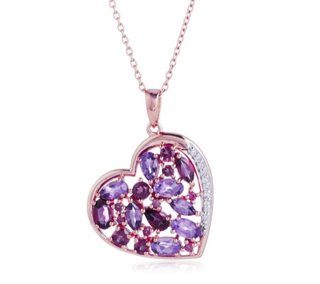 2.7ct Amethyst Heart Pendant 45cm Chain Sterling Silver Rose Gold Vermeil