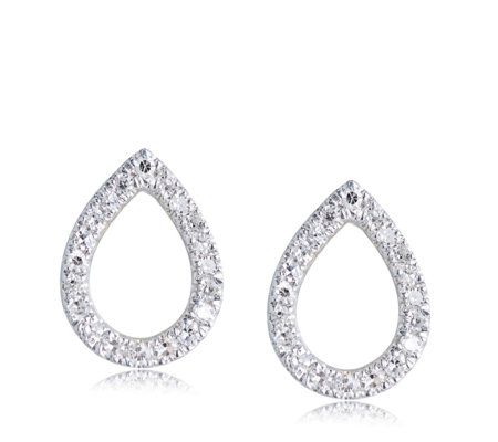 Lisa Snowdon Diamond Teardrop Stud Earrings Sterling Silver