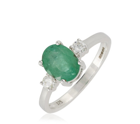1.65ct Zambian Emerald & 0.2ct Diamond 3 Stone Ring 9ct Gold