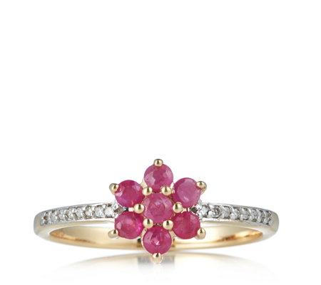 Outlet 0.53ct Ruby Diamond Accent Cluster Ring 9ct Gold