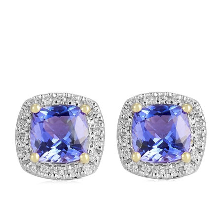1.20ct AAA Tanzanite & 0.14ct Diamond Cushion Halo Stud Earrings 18ct Gold