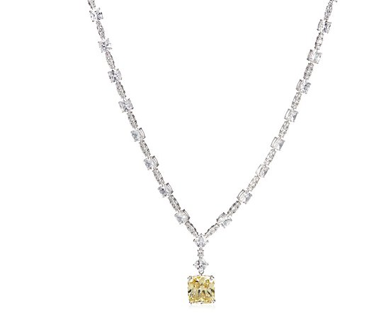 Michelle Mone for Diamonique 90ct tw Cushion Cut 90cm Necklace Sterling Silver