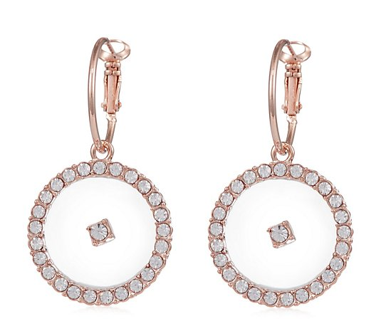Frank Usher Crystal Drop Hoop Earrings