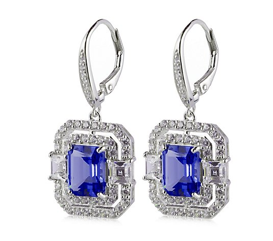 Diamonique Vintage Style 7.1ct tw Leverback Earrings Sterling Silver