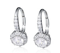 Diamonique 0.9ct tw Halo Leverback Earrings Sterling Silver - 312778