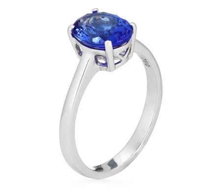 1.75ct AAA Tanzanite Oval Solitaire Ring 18ct Gold