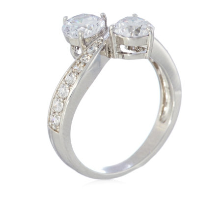 Michelle Mone for Diamonique 1.9ct tw Bypass Ring Sterling Silver