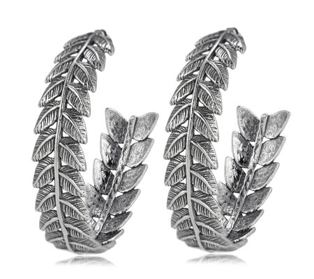 Or Paz Leaf Detail Hoop Earrings Sterling Silver