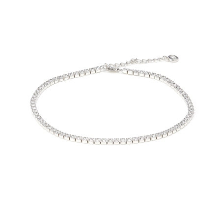 Diamonique 4.4ct tw Tennis Anklet with Extender Sterling Silver