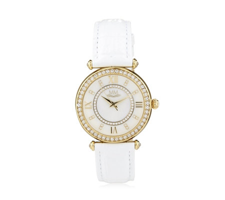 Michelle Mone for Diamonique 3ct tw Leather Strap Watch