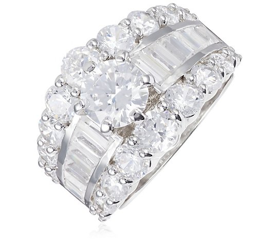 Diamonique Vintage Style 10ct tw Statement Band Ring Sterling Silver