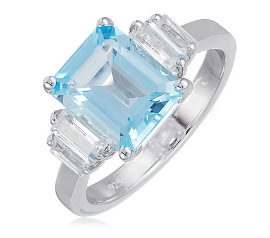 3.32ct-4.32ct Octagon Gemstone & White Topaz Ring Sterling Silver