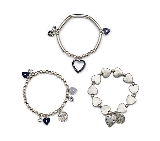 Bibi Bijoux 3 Row Enamel Heart Stack Stretch Bracelet