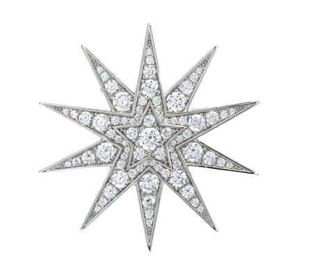 Diamonique 1.5ct tw Starburst Brooch Sterling Silver