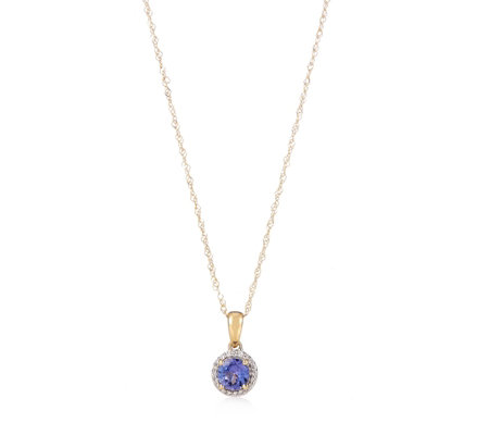 0.44ct AAA Tanzanite & Diamond Accent 45cm Necklace 18ct Gold
