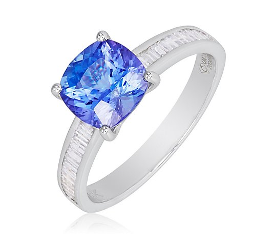 Outlet 2ct AAAA Cushion Tanzanite & 0.15ct Baguette Diamond Ring 18ct Gold