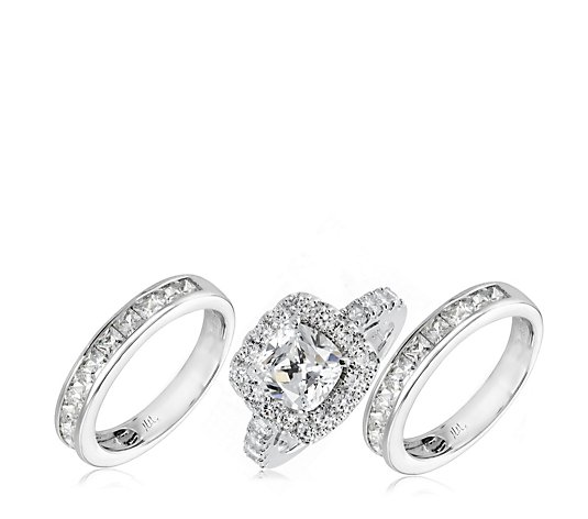 Michelle Mone for Diamonique 4ct tw Simulated Diamond Ring Set Sterling Silver