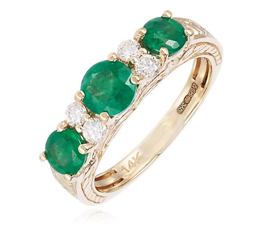 1.30ct Emerald 0.20ct Diamond Estate Collection Eternity Ring 14ct Gold