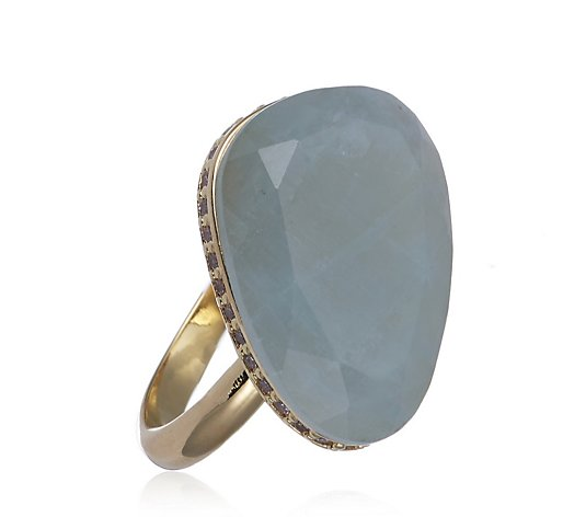 K by Kelly Hoppen Angled Gemstone Ring with Pave