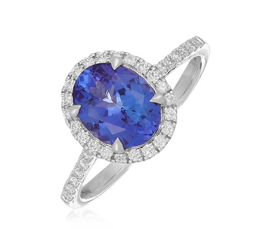 1.75ct AAA Tanzanite Oval Halo 0.25ct Diamond Ring 18ct Gold