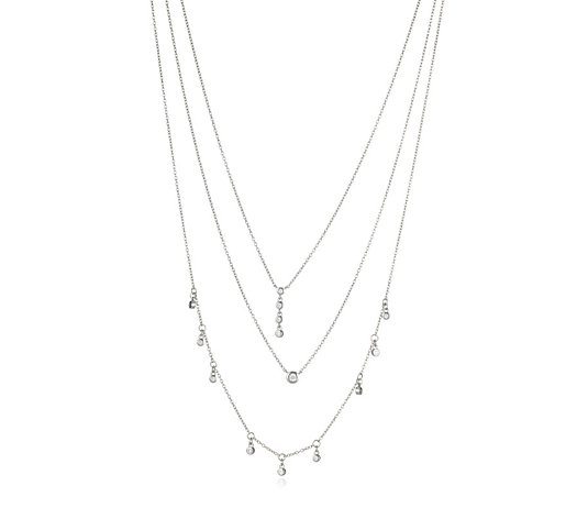 Diamonique 1.4ct 3 Row Charm Necklace Sterling Silver