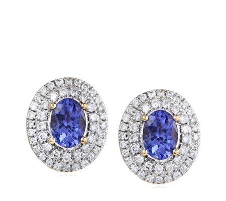 1.14ct AAA Tanzanite & 0.56ct Diamond Stud Earrings 18ct Gold