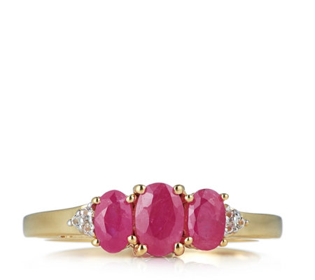 1.04ct Ruby 3 Stone Ring Sterling Silver