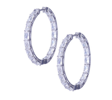 Michelle Mone for Diamonique 12ct tw Radiant Cut Hoop Earrings Sterling Silver