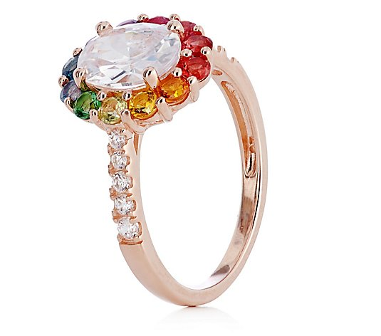Diamonique 2.7ct tw Rainbow Halo Ring Sterling Silver