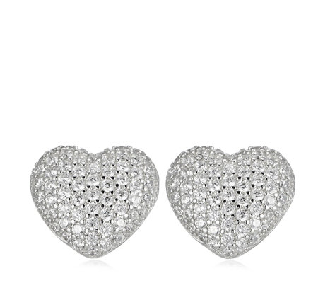 Diamonique 1.7ct tw Pave Heart Stud Earrings Sterling Silver