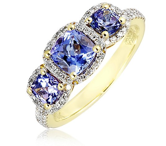 1.25ct AAA Tanzanite Cushion 0.28ct Diamond Trilogy Halo Ring 18ct Gold