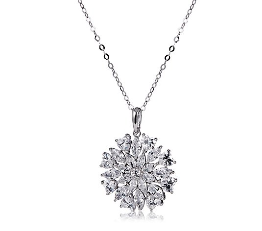 Michelle Mone for Diamonique 6.1ct tw Flower Pendant & Chain Sterling Silver