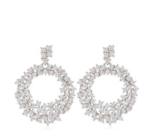 Diamonique 9.1ct tw Round Cut Earrings Sterling Silver