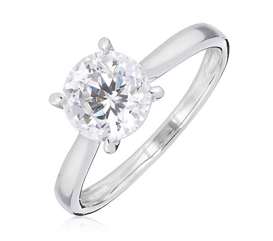 Diamonique 2ct tw 100 Facet Solitaire Engagement Ring Sterling Silver