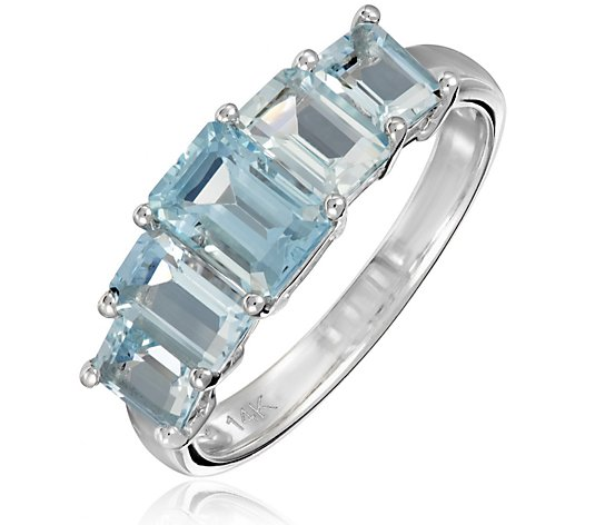 2.50ct Aquamarine 5 Stone Octagon Cut Ring 14ct Gold