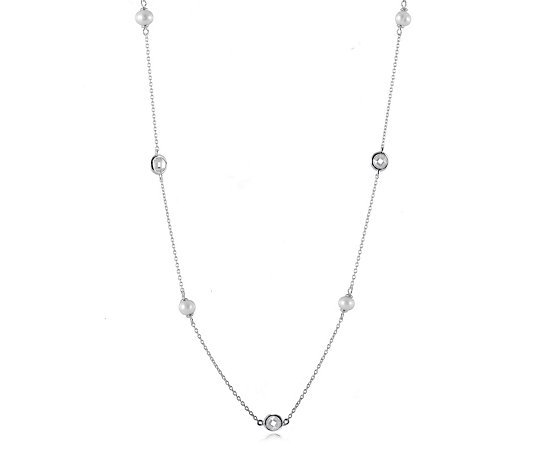 Diamonique 4ct tw Freshwater Pearl 70cm Necklace Sterling Silver