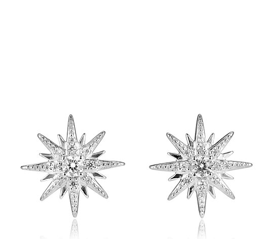 Diamonique 0.2ct tw Starburst Stud Earrings Sterling Silver