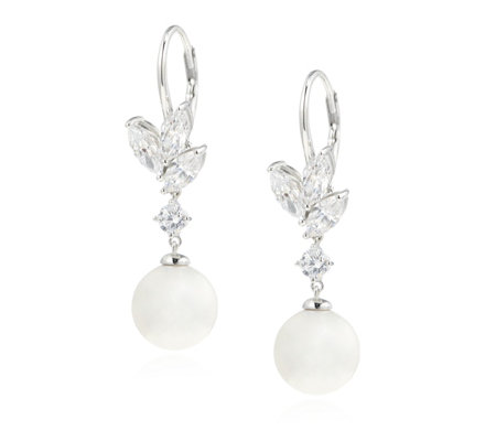Michelle Mone for Diamonique 2.4ct tw Simulated Pearl Earrings Sterling Silver