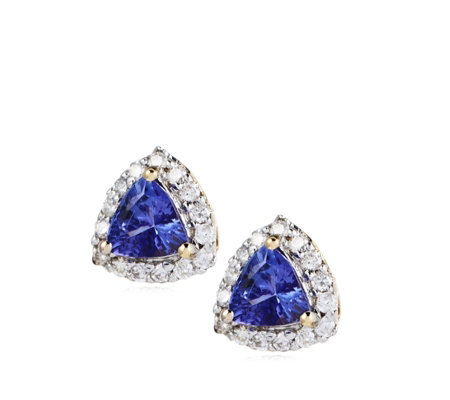 0.44ct AAA Tanzanite & 0.15ct Diamond Stud Earrings 18ct Gold