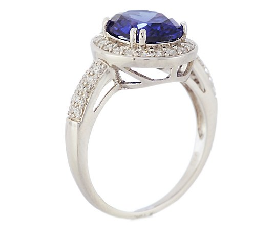 Diamonique 4.2ct tw Simulated Tanzanite Pave Ring Sterling Silver