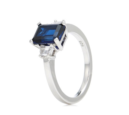Diamonique 2.2ct tw Emerald Cut Ring Sterling Silver