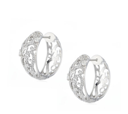 0.33ct Diamond Floral Huggie Hoop Earrings 9ct Gold