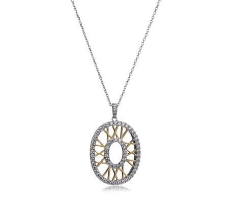 Diamonique 0.5ct tw XXV Anniversary Pendant & Chain Sterling Silver