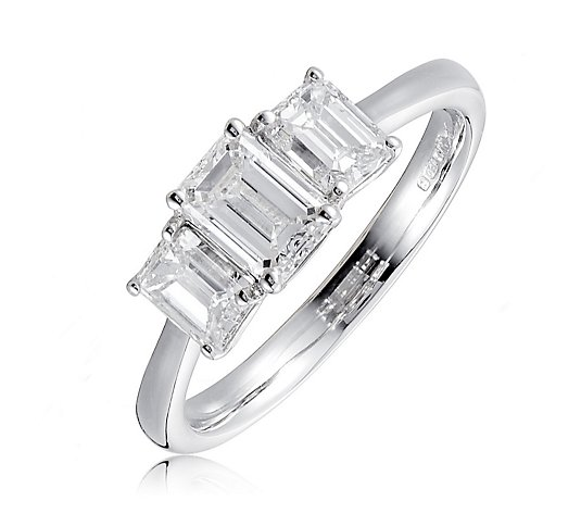 1.60ct H-I VS Emerald Cut Diamond Trilogy Ring 18ct Gold