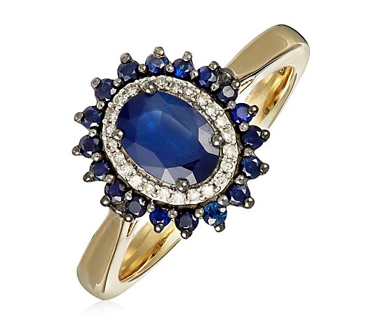 1.27ct Sapphire & 0.07ct Diamond Halo Estate Collection Ring 9ct Gold