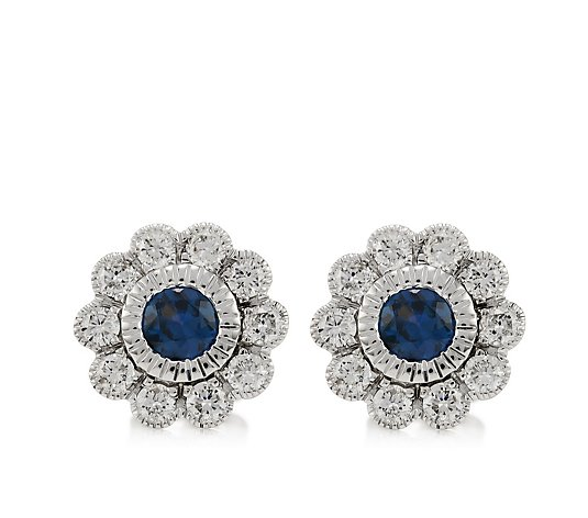 0.35ct Sapphire 0.40ct Diamond Estate Collection Stud Earrings 9ct Gold