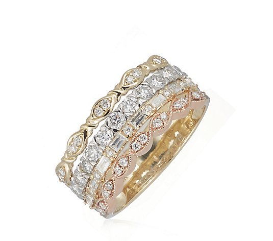 1.00ct Diamond 4 Row Band Ring 9ct Gold