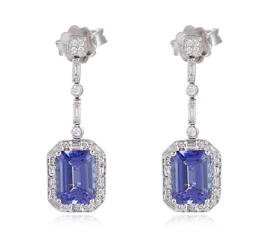 3.00ct AAA Tanzanite Octagon 0.30ct Diamond Drop Earrings 18ct Gold