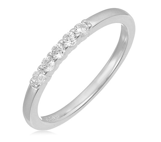 Diamonique 0.15ct tw Stacking 5 Stone Ring Sterling Silver